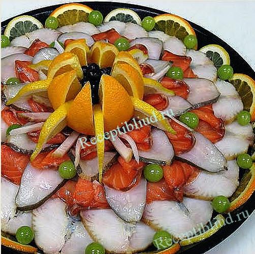 Рыбная нарезка в домашних условиях фото - УКРАШЕНИЕ БЛЮД -15. Рыбная тарелка - пошаговые фото