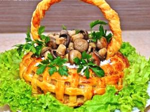 корзина из слоеного теста с мясом фото