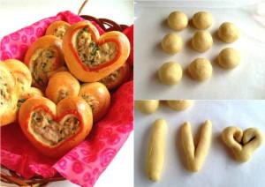булочки в форме сердечек с тунцом фото