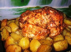 Курица запечённая с картофелем фото