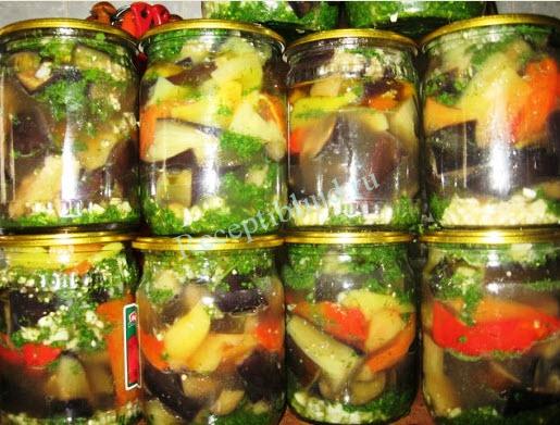 Заготовки из болгарского перца с баклажанами