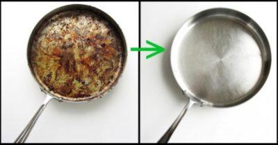 Как очистить пригоревшую сковороду