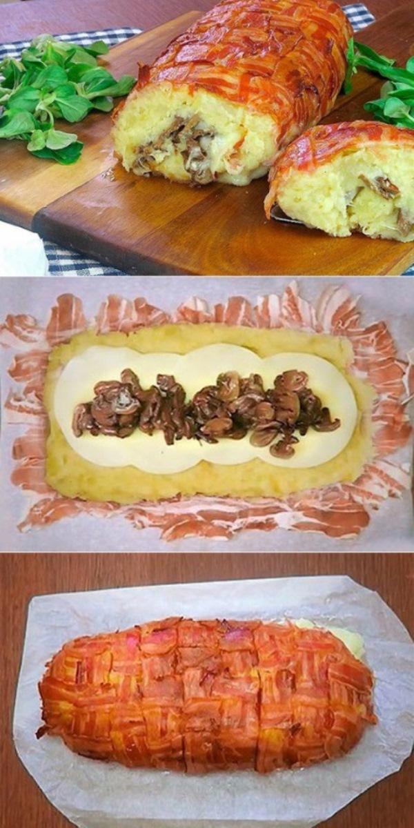 Картофельный пирог из бекона с грибами и сыром в духовке