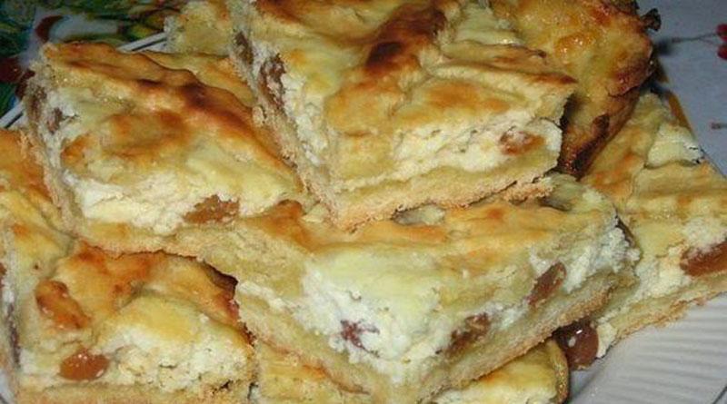 Пирог с творогом и изюмом. Рецепт замечательный просто! Получается праздничная выпечка. Особенно деткам по душе.