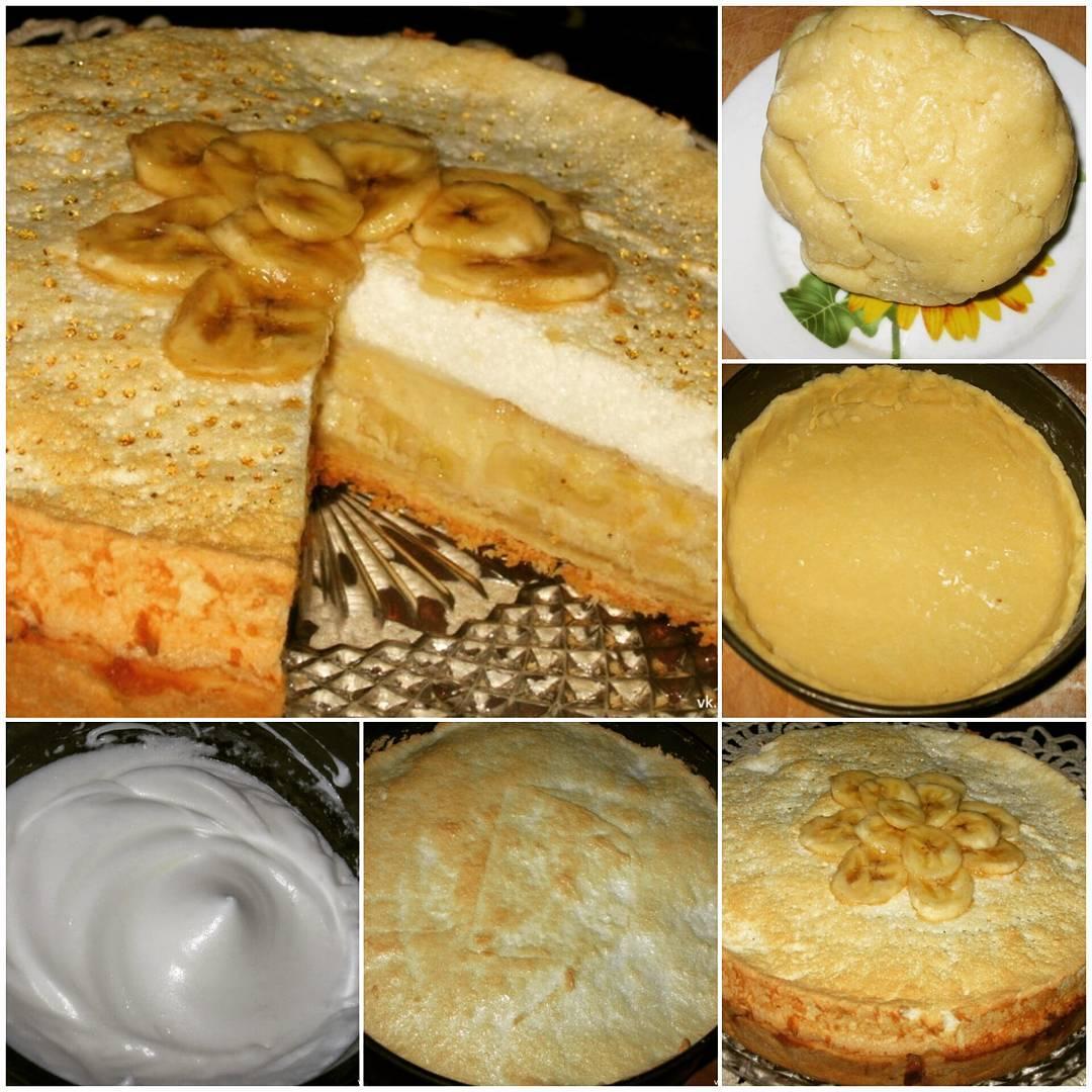 Очень банановый торт для любителей бананов. В нем изумительный на вкус банановый крем под легкой «шапкой» взбитых белков.