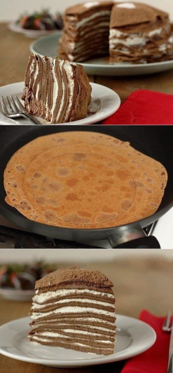 Блинный шоколадный торт «Легче не бывает». Его приготовление займет всего минут 10, а результат получите превосходный.