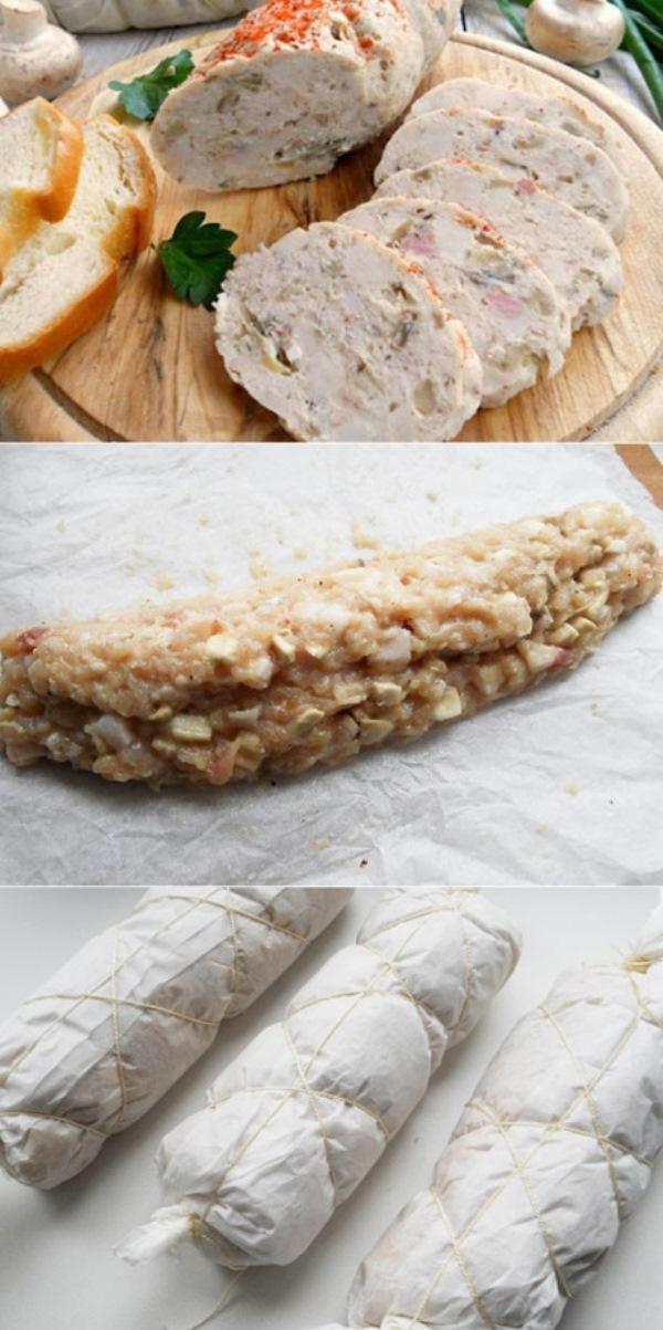 Колбаса куриная с грибами. Безумно вкуснo! Быстро, легко... тает во рту!