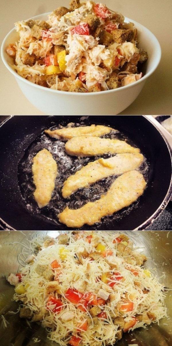 Салат с курицей и сухариками первый уходит со стола. Вкуснее оливье и шубы. Салат из обычных и доступных всем ингредиентов. Вкуснотище!