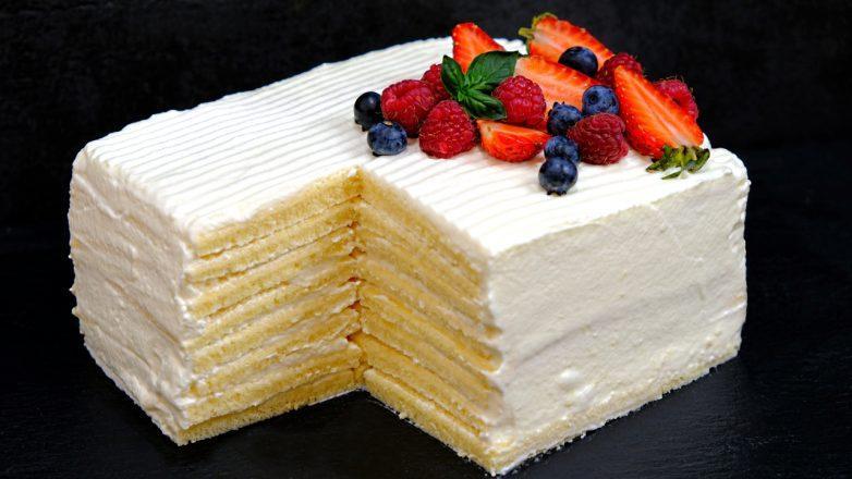 Торт «Молочная девочка» со вкусом мороженного за 30 минут!
