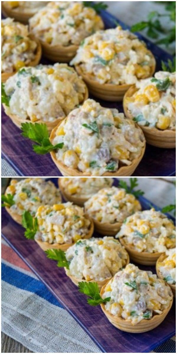 Селедочный салат в тарталетках — легкая закуска на праздничный стол