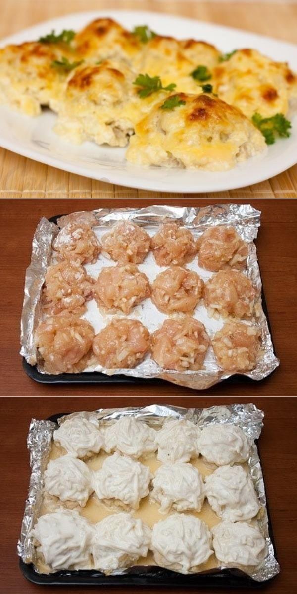 Куриные шарики в сырно-сливочном соусе. Вся семья обожает!