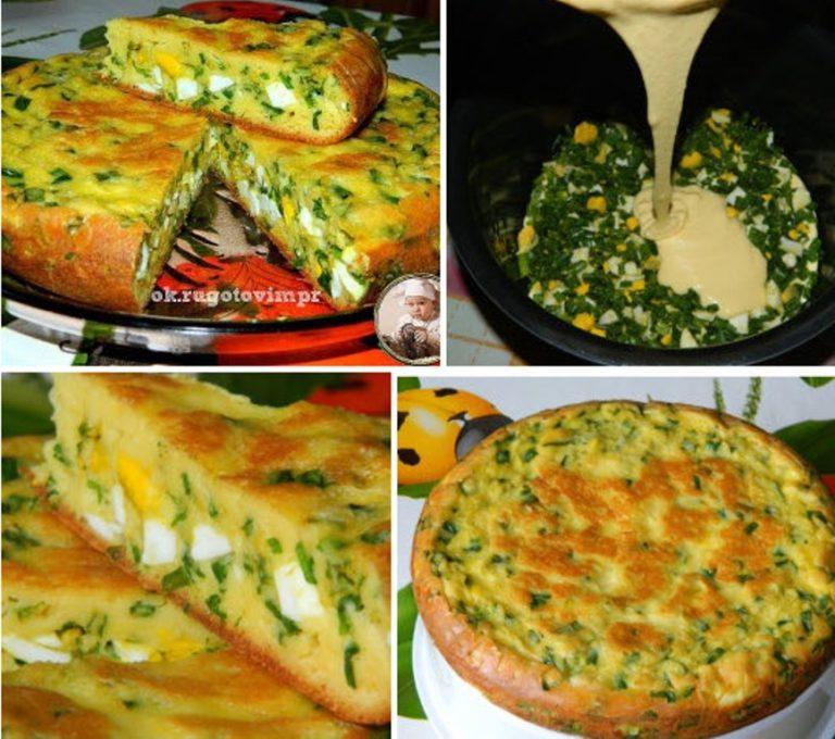 Получается просто шедевр! Пирог на кефире с яйцом и зеленым луком