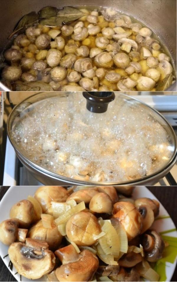 Дежурный рецепт маринованных грибов, 20 минут — и готово. Улетели за один присест.